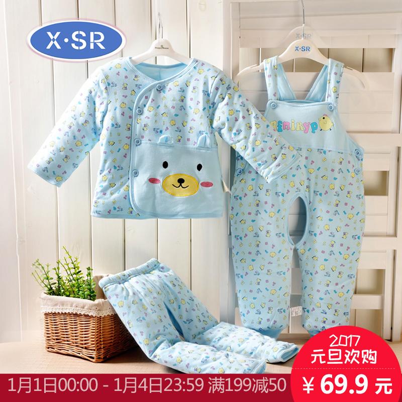 婴儿棉衣套装加厚宝宝棉三件套外出服外套0-1岁新生儿衣服冬季