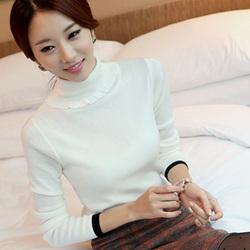 2014秋冬韩版白色高领毛衣打底衫女套头加厚长袖修身针织打底衫潮