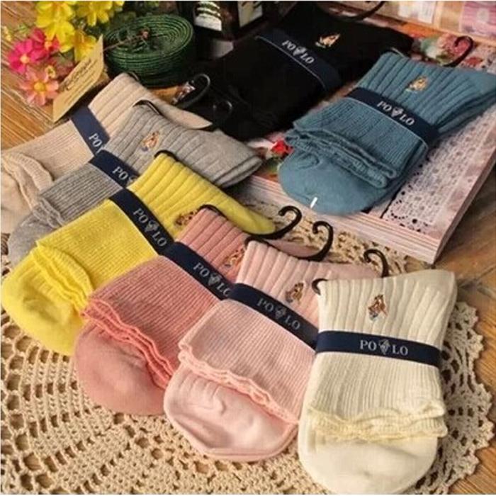 孕妇宽松口棉袜POLO正品提花月子袜纯棉中筒短袜荷叶花边短袜