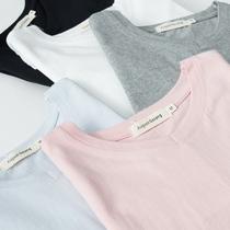 八月格桑春夏纯棉情侣短袖T恤v领宽松睡衣家居服简约纯色打底上衣