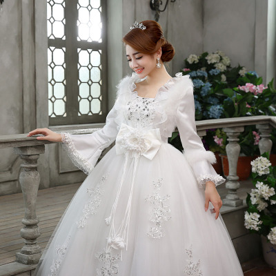 2014 new bride wedding dress Korean winter thick warm autumn and winter long sleeve lace waist straps
