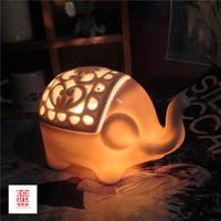 创意儿童台灯卧室床头 可调光卡通时尚温馨田园陶瓷可爱礼物盐灯