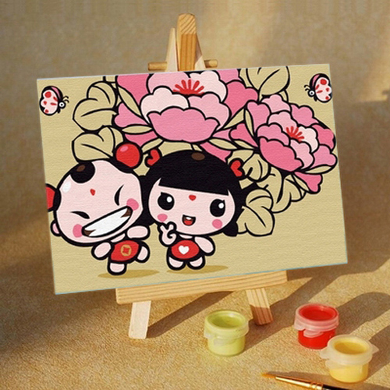 正品打折手绘手工数字油画diy儿童手绘画卡通风景
