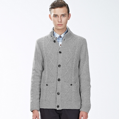 Giordano Men Men cardigan sweater wool blend jacquard cardigan sweater with high collar and a half 01054611