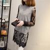 大码女钩花镂空蕾丝连衣裙透明百搭中长款内搭长袖打底衫