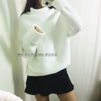 高领毛衣女 2015秋冬季韩版中长款套头宽松加厚长袖外套羊毛衫潮