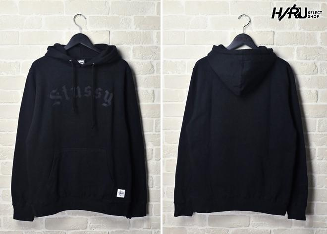 STUSSY OLD ENGLISH HOOD SWEAT   層次太空黑 连帽 卫衣