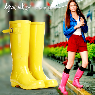 Good rain season Ms candy color crystal high women's rain boots handsome motorcycle riding boots