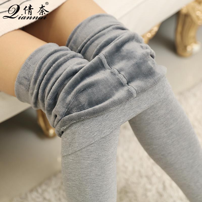 秋冬女加绒打底裤加厚保暖无缝外穿大码连袜高腰棉一体纯灰色踩脚图片