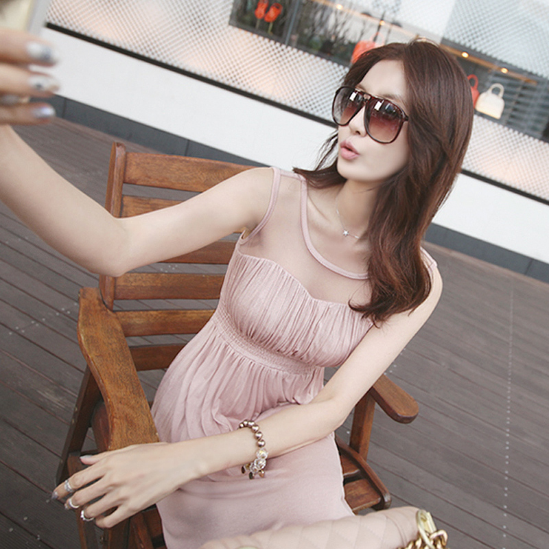 韩国代购2016新款波西米亚沙滩裙莫代尔连衣裙泰国海边度假长裙潮