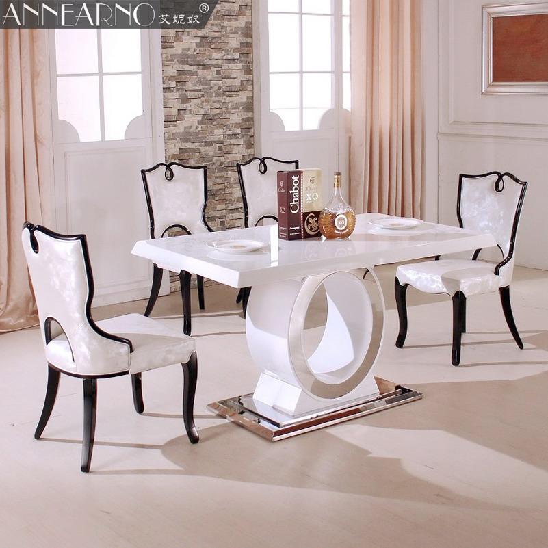 小户型长方形饭餐桌子白色 餐桌现代简约大理石时尚艾妮奴T905