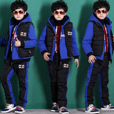 Kids boys winter 2014 new male big boy suit thick sweater three-piece children's autumn influx of children 12 years of age