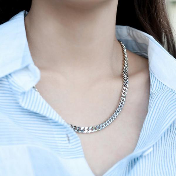 韩国代购简约情侣马鞭链银色粗链子中长款项链可调节时尚欧美项链