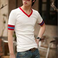 2015夏季款韩版男士短袖T恤 男修身彩色V领休闲T恤 男式T恤短袖
