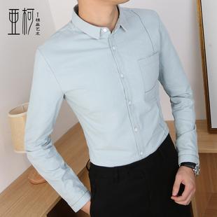 春季男士长袖衬衣百搭亚麻衬衫潮流青年棉麻寸衫帅气