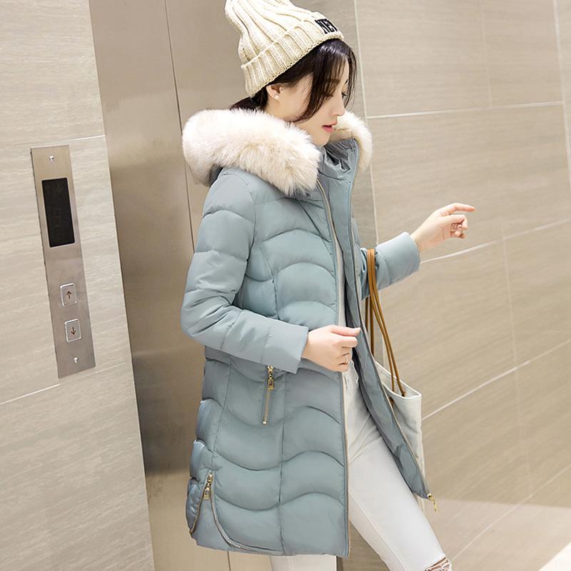 新款冬季外套棉衣女中长款韩版修身连帽甜美保暖加厚大毛领棉服潮
