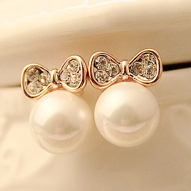 Korea exquisite diamond bow pearl earrings fashion earrings female models earrings earrings Korean jewelry accessories