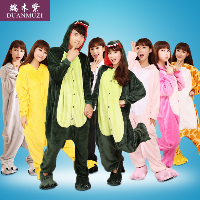 Male and female winter flannel tracksuit dinosaur animal lovers Stitch piece pajamas cartoon toilet version
