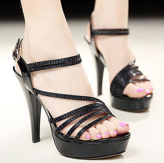 性感優雅高跟水鑽涼鞋