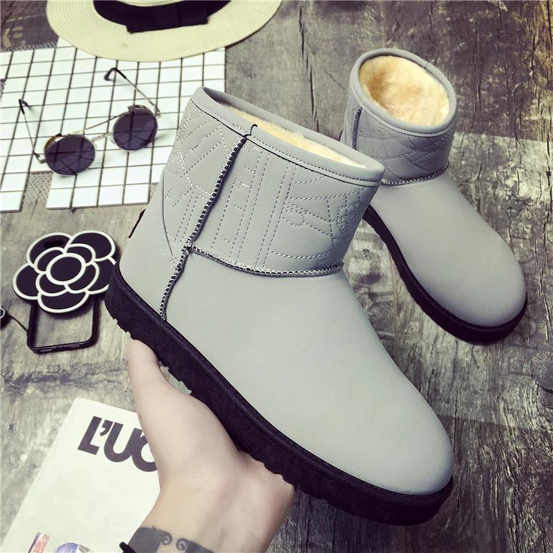 松糕底雪地靴女冬靴中筒加厚保暖雪地棉短靴平底情侣靴男女鞋棉鞋