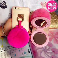 新款iPhone6plus手机壳卡通苹果6S手机壳冬彩色镜子5S套獭兔毛球