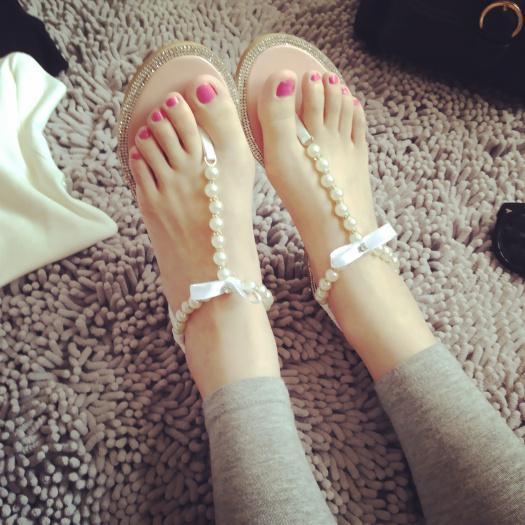 珍珠奢華水鑽名媛平底涼鞋