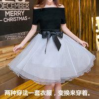 韩版女半身裙套装一字领短袖连衣裙夏中裙欧根纱蓬蓬a字裙两件套