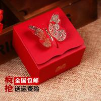 婚庆用品婚礼喜糖盒子批发创意结婚喜糖盒纸盒方形立体蝴蝶小糖盒