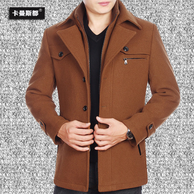 Kaman Si are woolen jacket jacket middle-aged middle-aged man in autumn and winter clothes men's jackets dad fitted jacket