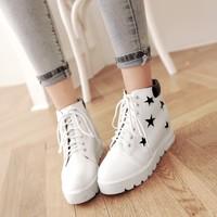 2015秋季新款韩版内增高休闲女鞋单鞋厚底高帮系带坡跟鞋运动鞋潮