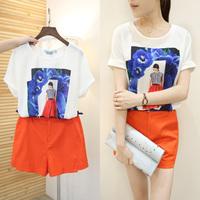 韩国2015夏季新款时尚套装印花圆领短袖上衣加短裤套装女装两件套