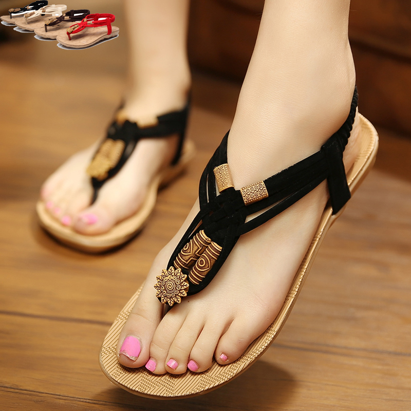 2015 summer new female flat with flat sandals beach sandals sweet bohemian beaded thong sandals tide