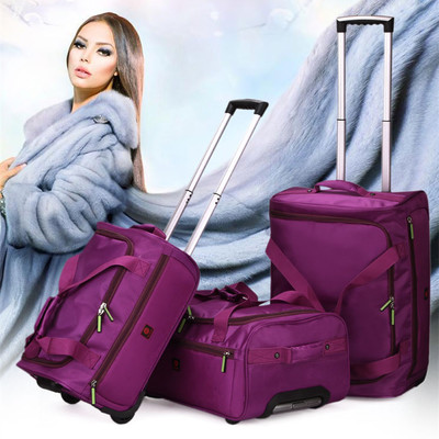 The new trolley bag fashion unisex waterproof bag large capacity folding luggage trolley bags