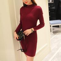 针织毛衣打底裙秋冬装新款韩版百搭修身女装纯色长袖连衣裙A字裙