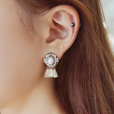 South Korea imported genuine purchasing Chinese beauty retro earrings gemstone crystal pearl earrings 925 needles