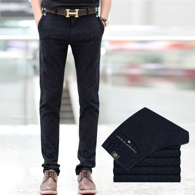 2014 autumn and winter Korean version of Slim casual trousers male thickening tide original design big yards straight pants feet