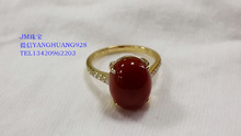JMA jewelry customization Gia to custom 18 k gold egg noodle female red coral diamond ring