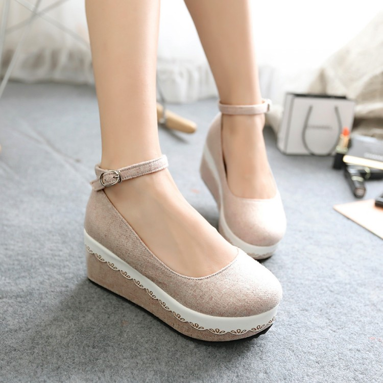 Japanese sweet lace muffin shoes fall 2014 new Korean students round bottomed shoes women shoes