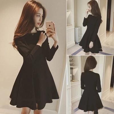 2016冬季新款大码女装显瘦打底裙加绒加厚长袖连衣裙秋冬款小黑裙