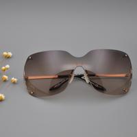 原厂 低调 高贵太阳镜 正品代购墨镜女士大框ax连体片 无框2只