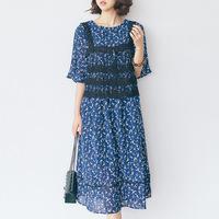 夏季新款韩版女装五分袖碎花连衣裙镂空蕾丝小背心飘逸裙摆潮730