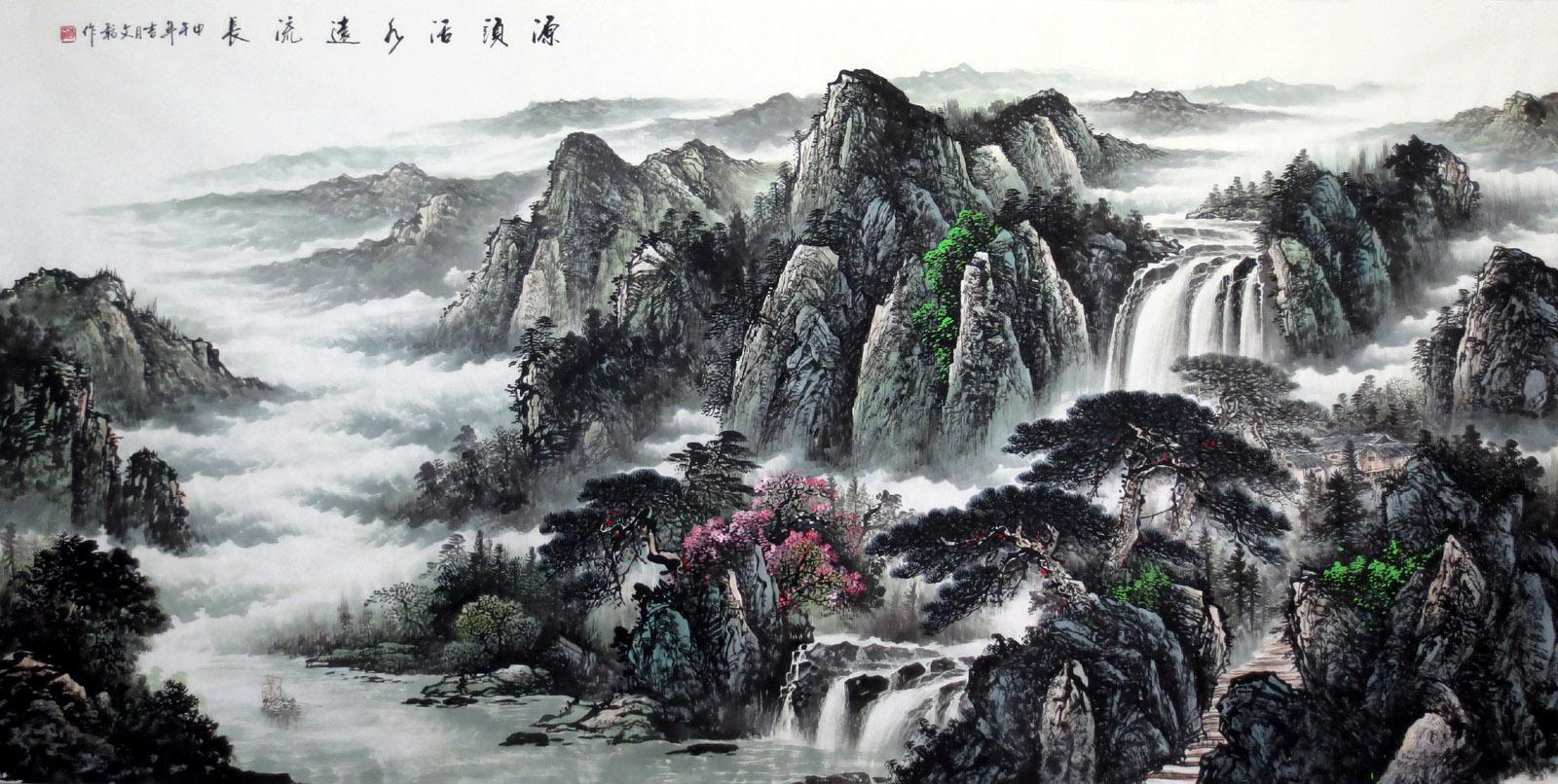 名家手绘真迹原稿八尺山水画国画风水靠山字画水墨画客厅办公室