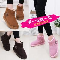 印心鸟冬季新款牛皮雪地靴女真皮搭扣短靴女鞋平底加厚棉靴冬靴