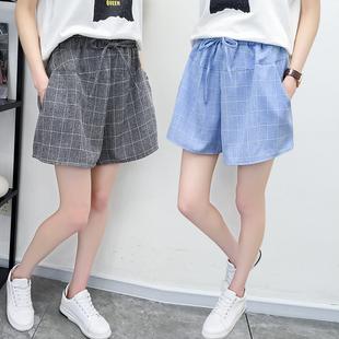 春夏季裙裤女2019系带宽松大码阔腿格子女士五分短裤