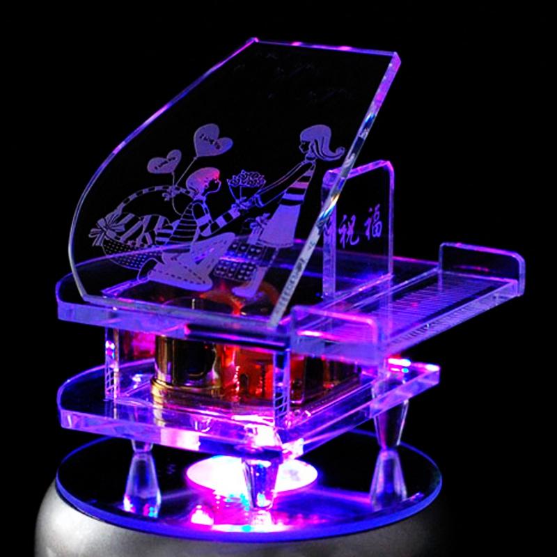 可迪 音乐盒生日礼物水晶钢琴男送女朋友女生浪漫diy定制创意礼品
