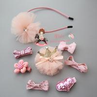 1套包邮 六一节超美梦幻纱发箍套装带盒儿童发饰宝宝全包气质发夹