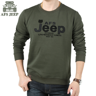 Winter AFS JEEP Men Tee T-shirt plus velvet warm thick cotton collar long-sleeved sweater bottoming shirt compassionate