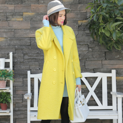 Love snowman vintage European and American big loose double-breasted wool coat new winter woolen long coat