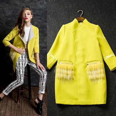 2014 autumn/winter wool cloth coat female coat compound leather decorative Europe and the United States of big shop sign no female buckle coat coat
