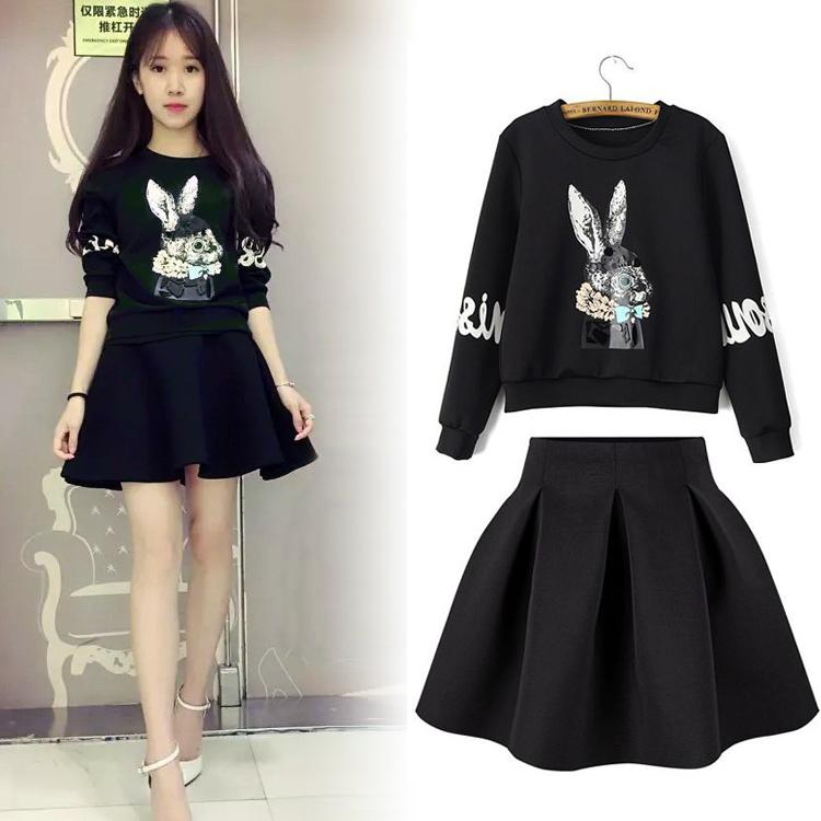 2016春装新款女装韩版太空棉连衣裙女春秋长袖套装两件套打底裙子